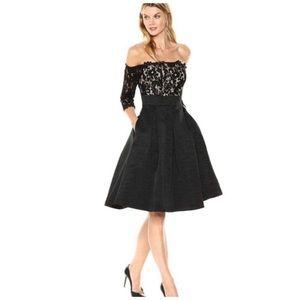 Eliza J Off The Shoulder Black Lace Dress